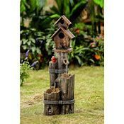 Jeco Wood Finish Tiered Water Fountain and Birdhouse  Retail 159 49