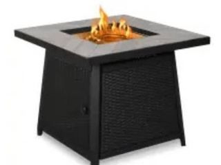 30 in  W x 30 in  x 25 in  Square Rattan Fire Pit  Retail 541 99