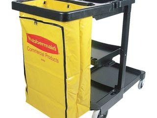 Rubbermaid Commercial FG617388BlA Housekeeping 3 Shelf Janitor Cart With Zippered Yellow Vinyl Bag  Black