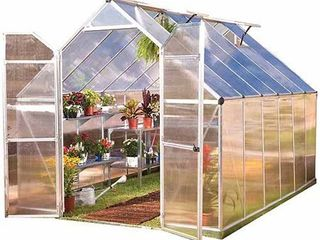 Palram Nature Series Essence 8  x 12  Hobby Greenhouse and the Aluminum Kit Silver