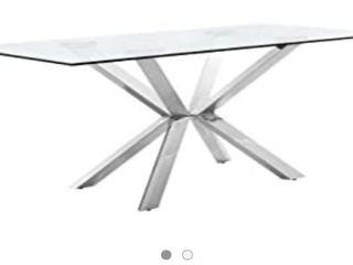 Meridian Furniture Juno Collection Modern   Contemporary Dining Table with a Rich Chrome Stainless Steel Base and Thick Glass Top  78  W x 39  D x 30  H