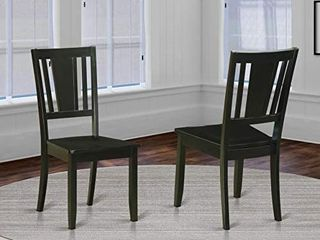 East West Furniture Dudley kitchen dining chairs  Wooden Seat and Black Solid wood Frame wood dining chair Set of 2
