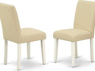 East West Furniture Parson Chairs Set of 2   Comfortable linen Fabric  Solid Wood linen Modern living Room dining Chair