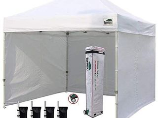 Eurmax 10 x10  Ez Pop up Canopy Tent Commercial Instant Canopies Party Tent with 4 Removable Zipper End Side Walls and Roller Bag  Bonus 4 SandBags  White  Retail  235