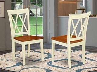East West Furniture Clarksville Double X back Dining Chairs in Buttermilk and Cherry Finish  Set of 2  Buttermilk   Cherry Retail  138