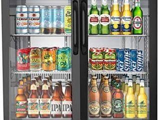KoolMore 2 Door Back Bar Cooler Counter Height Glass Door Refrigerator with lED lighting   7 4 cu ft  Black Retail  1335