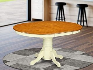 East West Furniture Butterfly leaf Oval Dining Table   Cherry Table Top and Buttermilk Finish Pedestal legs Hardwood Frame Round Wooden Dining Table Retail  411