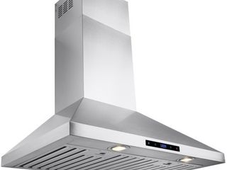 AKDY 30  Stainless Steel Wall Mount Range Hood with Touch Screen Display Halogen Bulb