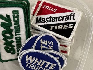 Misc lot Patches Mastercraft Tires  14  Skoal  5  White Trucks  8