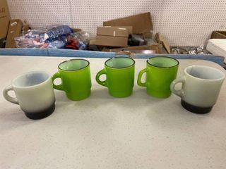 Fire King Coffee Cups  3 Green  2 Grey C Handle Mugs