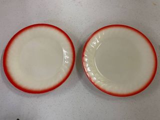 Fire King Ivory Red Sunrise Swirl Plates  2