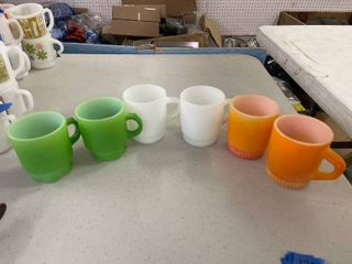 Fire King Green Thumbprint  2  Orange Thumbprint  2  White Thumbprint  2  Coffee Mugs