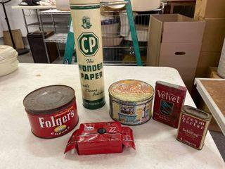 CP Wonder Paper  Full  Folgers Coffee  Peanut Brittle  Velvet Tin  Cream Tartar  Marlboro Vivitar Disposal Camera NOS