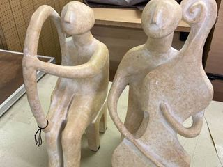 Folk Art Statues  Pair MCM