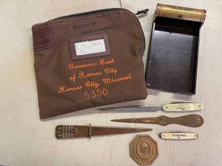 Elchman Machinery Co  letter Openers  Petershoe Knife  Commerce Money Bag W  lock KCMO