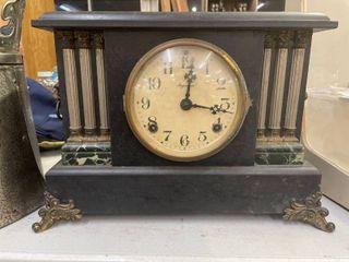 Ingraham 6 Pillar Mantle Clock Works w  Key