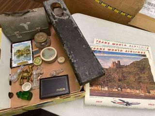 TWA Calendars  lunch Box  Camel Cast Iron Bank Misc lot