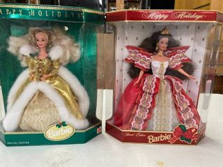 1997 Brunette Happy Holiday Barbie  1994 Blonde Hair Gold Dress Happy Holiday Barbie