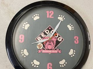 Red Dog Battery Operated Clock  Works