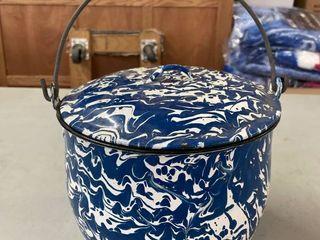 Blue Splatter Enamelware Pot w  lid