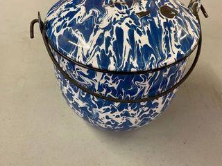 Blue Splatter Enamelware w  lid