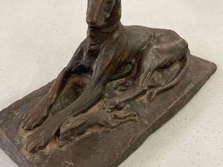 Bronze Borzoi Dog With Rabbit Sculpture
