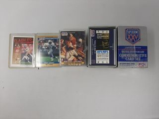 Assortment of football cards and superbowl
