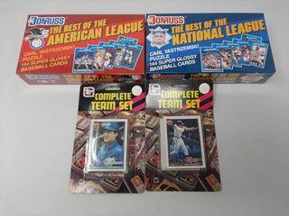 2 sets of donruss baseball cards and 2 team sets