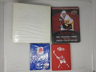 2 tim Hortons binders and assortment of hockey