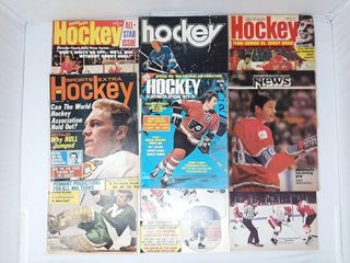 Assortment of old hockey magazines with Bobby