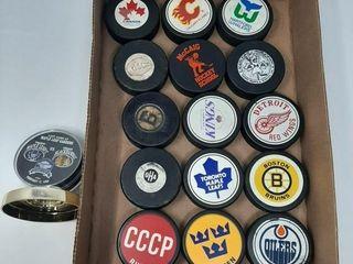 Hockey Pucks  Boston  Montreal Canadians  etc