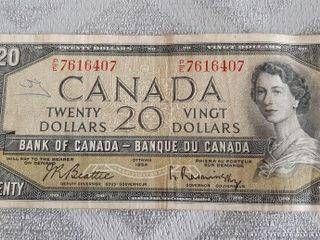 Canada 1954 20 Dollar Bill