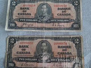 2 Canadian 1937  2 Bills