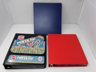 3 Binders Of Hockey Pogs Red 15 Sheets  Blue 15