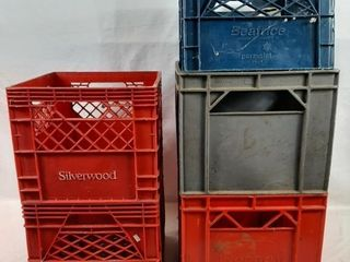 Five milk crates in two styles