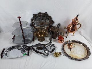 lot To Include Platters Copper Teapot Teapot