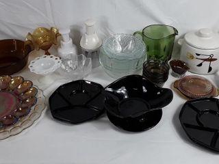 lot Of Glass Ware  Desert Plates  Pitcher  C