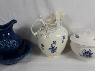 Blue Pitcher with Basin And White Pitcher