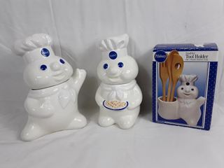 2 Pillsbury Cookie Jars   Utensil Holder