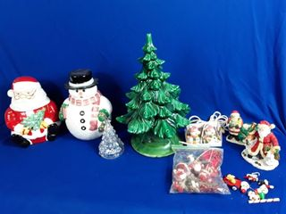 Christmas lot 2 Cookie Jars  Ceramic Tree