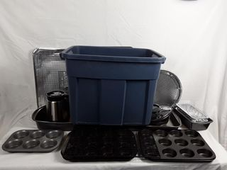 Bin With Baking Pans  Trays  Pot  Pitcher