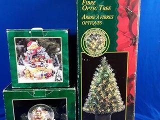 Fiber Optic Christmas Tree   2 Snow Globes