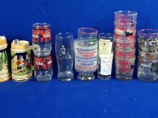 Assortment Of Steins  Mugs Shot Glasses And In