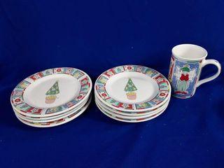 Christmas Desert Plates And Mugs