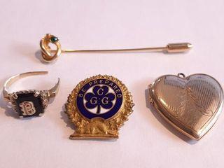 Heart Shaped locket  2 Pins  And 1 Broken Ring