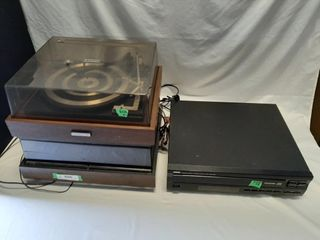 Pair Of Turntables And Vhs Player