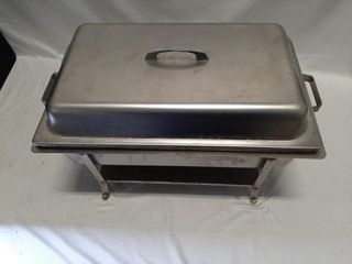 Metal buffet serving tray with canned heat