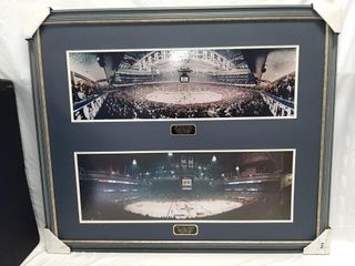Framed photos of the Air Canada Centre and Maple