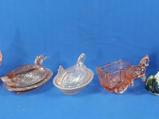 Depression Glass Rooster Duck Horse And Carriage