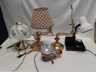Brass electric lamps  desk lamp  and emergency